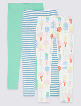 3 Pack Cotton Leggings with Stretch (3 Months - 5 Years), MULTI, catlanding