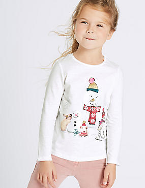 Cotton Rich Snowman Top (3 Months - 6 Years), IVORY MIX, catlanding
