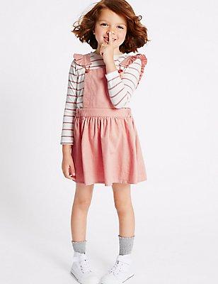 2-teiliges Outfit aus reiner Baumwolle, bestehend aus Oberteil und Schürzenkleid (3 Monate–5 Jahre), ROSA MELANGE, catlanding