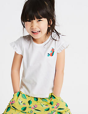 Pure Cotton Frill Sleeve Top (3 Months - 7 Years), IVORY MIX, catlanding