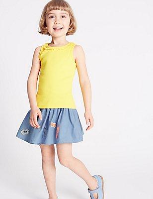 Pure Cotton Applique A-Line Skirt (3 Months - 5 Years), DENIM MIX, catlanding