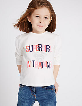 Pure Cotton Supergirl Top (3 Months - 5 Years), MULTI, catlanding
