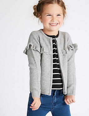 Zippped Through Frill Cardigan (3 Months - 5 Years), GREY, catlanding
