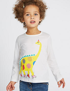 Pure Cotton Dinosaur Print Top (3 Months - 5 Years), WHITE MIX, catlanding