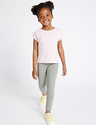 Cotton with Stretch Leggings with StayNEW™ (3 Months - 5 Years), GREY MARL, catlanding