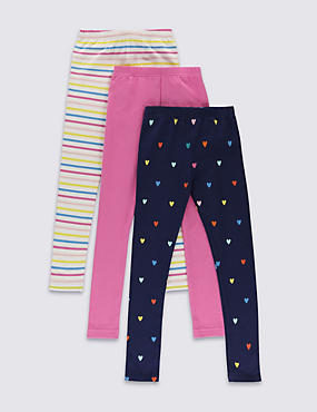 3 Pack Cotton Rich Assorted Leggings with StayNEW™ (1-7 Years)