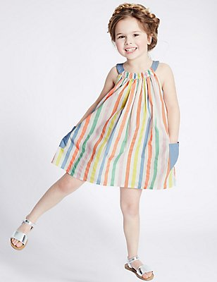 Pure Cotton Striped Dress (3 Months - 5 Years), MULTI, catlanding