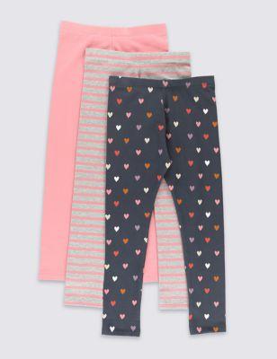 Хлопковые леггинсы StayNEW™ с дизайном в ассортименте для девочки 1-7 лет (3 шт) от Marks & Spencer