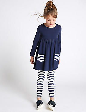 2 Piece Cotton Rich Tunic & Striped Leggings Outfit (1-7 Years) , NAVY, catlanding
