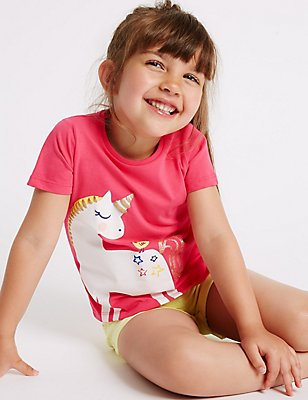 Pure Cotton Unicorn Sparkle Top (3 Months - 5 Years), PINK MIX, catlanding