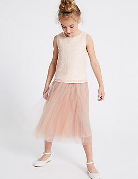 Longline Tutu Skirt (3-16 Years), PEACH, catlanding