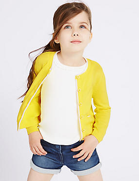 Pure Cotton Fine Gauge Cardigan (3 Months - 5 Years), YELLOW, catlanding