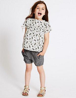 2-teiliges Outfit aus reiner Baumwolle, bestehend aus Oberteil und Shorts (1 Monat–5 Jahre), MEHRFARBIG, catlanding