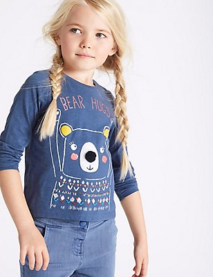 Cotton Rich Embroidered Top (3 Months- 5 Years), BLUE MIX, catlanding