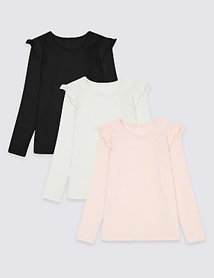 3 Pack Pure Cotton Tops (3 Months - 5 Years), MULTI, catlanding