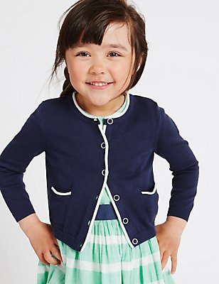 Pure Cotton Cardigan (3 Months - 5 Years), NAVY, catlanding