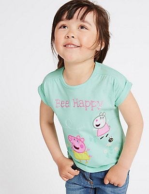 Peppa Pig™ Pure Cotton Top (12 Months - 5 years), LIGHT JADE, catlanding