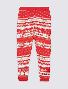 Cotton Rich Intarsia Knit Leggings (3 Months - 6 Years), BRIGHT RED, catlanding