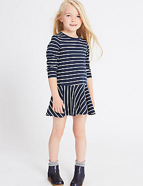 Cotton Rich Striped Dress (3 Months - 5 Years), NAVY MIX, catlanding