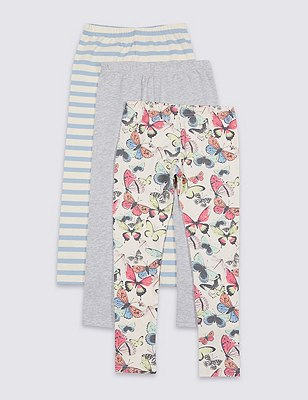 3 Pack Cotton Rich Assorted Leggings with StayNEW™ (1-7 Years), PINK MIX, catlanding
