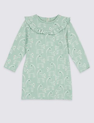 Unicorn Print Dress (3 Months - 5 Years), AQUA, catlanding