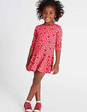 Pure Cotton Printed Dress (3 Months - 5 Years), RED MIX, catlanding