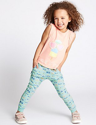 Butterfly Print Joggers (3 Months - 5 Years), PALE JADE, catlanding