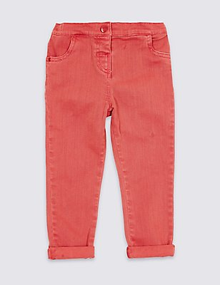 Cotton Jeans with Stretch (3 Months- 5 Years), RED, catlanding