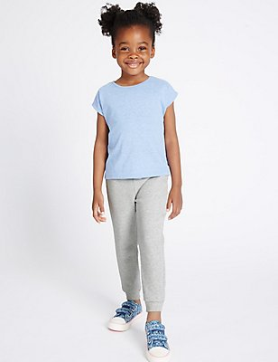 Cotton Blend Essential Joggers (3 Months - 5 Years), GREY MARL, catlanding