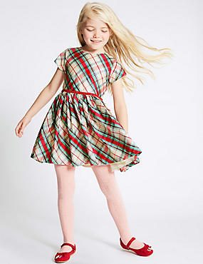 Checked Short Sleeve Dress (1-10 Years), MULTI, catlanding