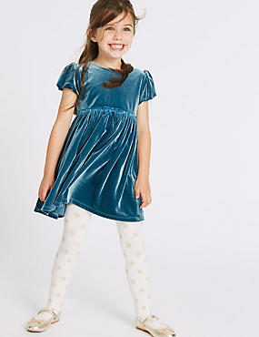 Frill Velvet Dress (1-10 Years), TEAL, catlanding