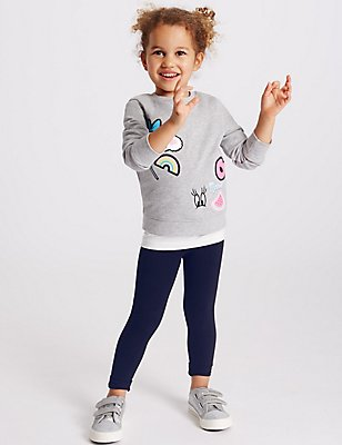 Cotton Rich Leggings (3 Months - 5 Years), NAVY, catlanding