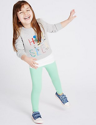 Cotton Rich Leggings with StayNEW™ (3 Months - 5 Years), LIGHT JADE, catlanding