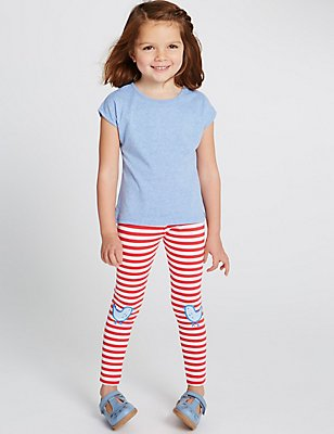 Cotton Rich Leggings (3 Months - 5 Years), RED, catlanding
