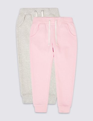2 Pack Cotton Rich Joggers (3 Months - 5 Years), PINK, catlanding