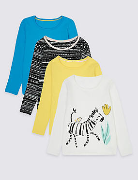 4 Pack Pure Cotton Tops (3 Months - 5 Years), MULTI, catlanding
