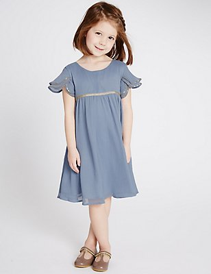 Chiffon Dress (1-14 Years), BLUE, catlanding