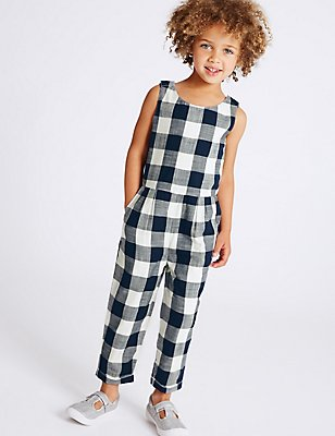 Pure Cotton Checked Jumpsuit (3 Months - 5 Years), BLUE, catlanding