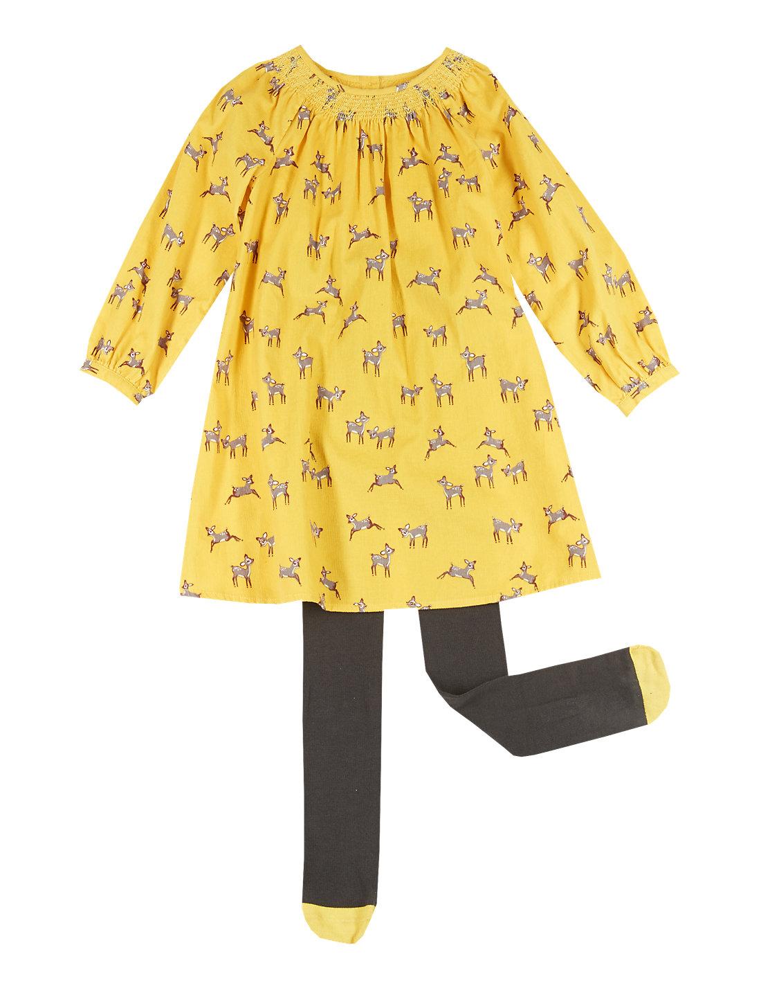 2 piece cotton rich deer print corduroy dress u0026 tights 1 7 y