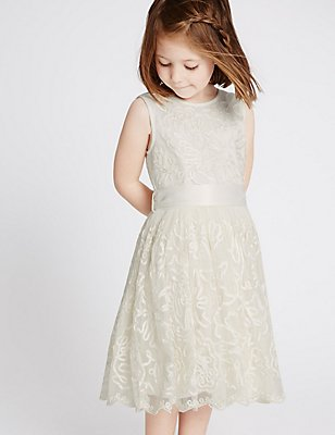 Cornelli Dress (1-14 Years), IVORY, catlanding