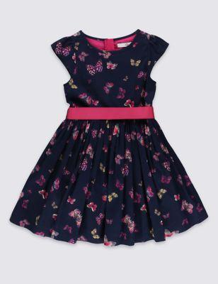 """Нарядное платье из чистого хлопка """"Бабочки"""" с цветным поясом для девочки 1-10 лет от Marks & Spencer"""