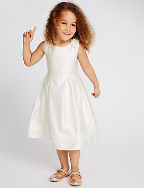 Bow Detailed Dress (1-14 Years), IVORY, catlanding