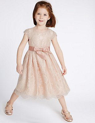 Lace Front Bow Dress (1-14 Years), PINK, catlanding