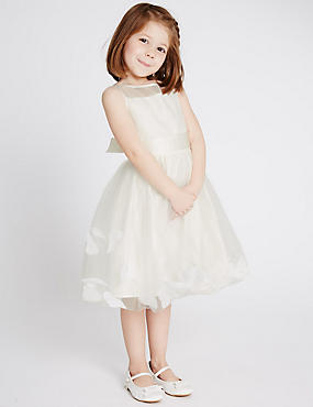 Petal Hem Dress (1-14 Years), IVORY, catlanding