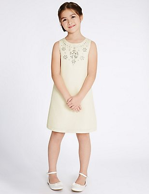 Collar Detailed Shift Dress (4-14 Years), IVORY, catlanding