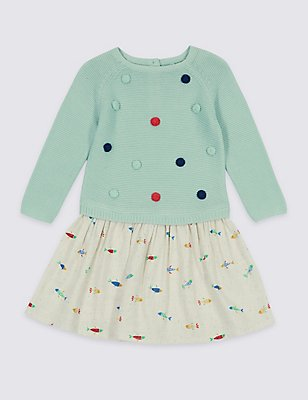 Pure Cotton Long Sleeve Dress (3 Months - 5 Years), SEA GREEN, catlanding