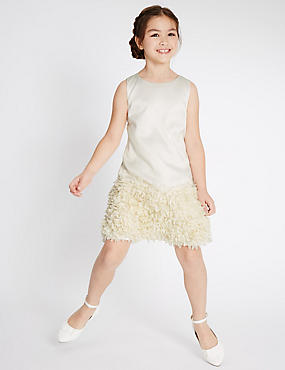 Sleeveless Shift Dress (4-14 Years), IVORY, catlanding