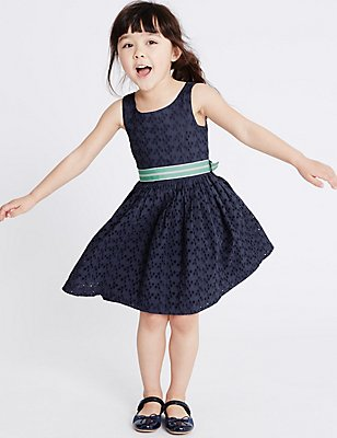 Pure Cotton Dress (1-10 Years), BLUE, catlanding