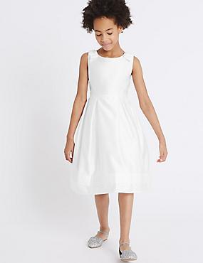 Bow Dress (5-14 Years), WHITE, catlanding