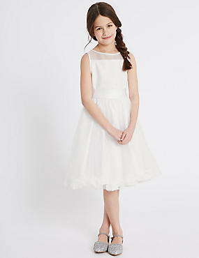 Petal Hem Communion Dress (5-14 Years), WHITE, catlanding